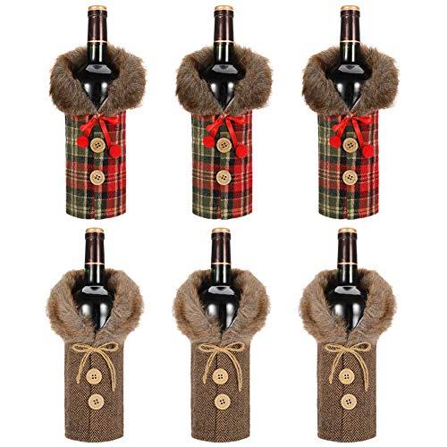 Rubywoo&chili 6Pcs Weihnachten Weinflaschen Taschen, Weihnachten Weinflasche Bezug, Pullover Abdeckung Dekorative Mantel Flasche Abdeckung für Weihnachten Party Dekorationen