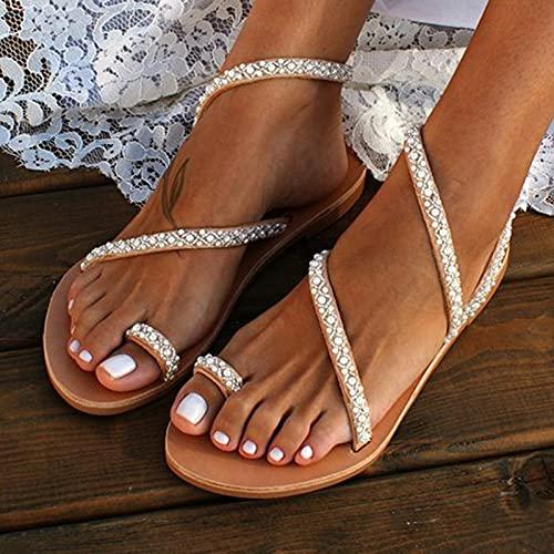 NGLSCXR Sandalias de Perlas de Cristal Sexy para Mujer Sandalias Elegantes para Mujer Zapatos cómodos Casuales de Suela Plana de Perlas de Cristal Sandalias Planas Blancas de Novia Zapatos de Boda en