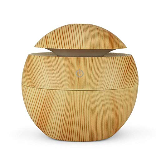 Koude mist luchtbevochtiger, kleuren LED Night Light USB Aromatherapie Luchtbevochtiger etherische olie Diffuser Wood Grain Cool spuit 95 ml,2