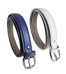 Krystle Prime Girls Combo Set Of 2 PU leather belts Blue & White)-B0799GKL62