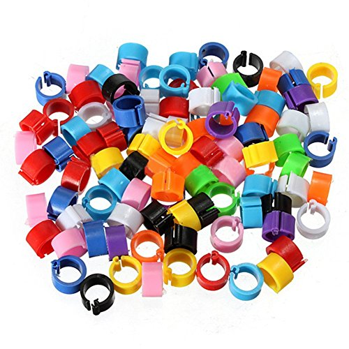 Wontee 100PCS Poultry Leg Rings Quail Clip on Foot Bands for Chicks Pullets Tiny Bantams (Mix Color)