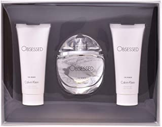 Calvin Klein Men's Obsessed Eau De Parfum, 100 ml + Body Lotion, 100 ml + Shower Gel, 100 ml Set