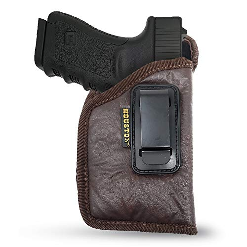 Brown ECO Leather Concealment Holster Inside The Waist with Metal Clip FITS Most MIDSIZES & Compact 9 mm / .40 Cal / .45 Caliber with Small Laser (CHPB-57GL) (Right)