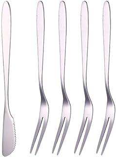 LianMengMVP Set de 1 Cuchillo, 4 Tenedores Tenedor de Fruta de Acero Inoxidable Cubiertos West Tenedor Pequeño Tenedor de Dos Dientes Postre Pastel Cuchillo y Tenedor de Pastel para el Hogar