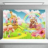 Sweet Candy Land Photography Backdrops 7X5FT Cartoon Dessert Lollipop Ice Cream Rainbow Backdrop Baby Shower Birthday Party Background Banner Photo Studio Props Vinyl