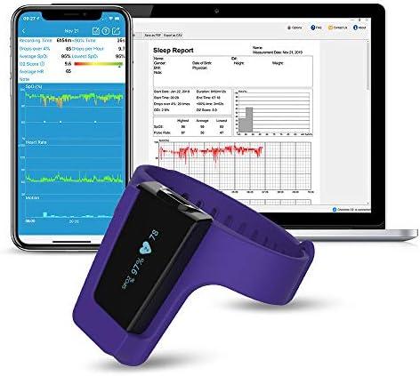 Viatom Oxímetro de pulso de muñeca, saturación del monitor de oxígeno del sueño, alarma de vibración inteligente para ronquidos y apnea del sueño, ayuda de la máquina CPAP