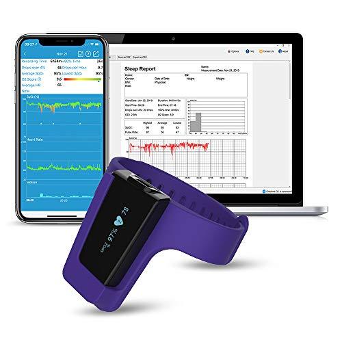 Viatom Pulsossimetro da polso, monitor di saturazione dell'ossigeno di sonno, allarme vibrazione intelligente per russare e apnea notturna, CPAP Machine Aid