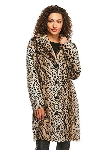 Leopard Faux Fur Tailored Stroller Coat (M) (Leopard)