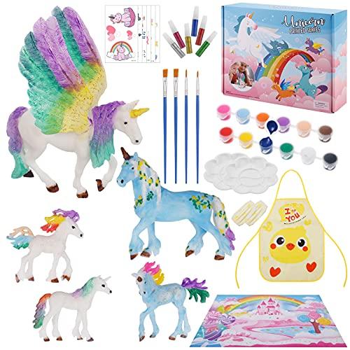 Skisneostype 42 Pcs Einhorn Malset, Einhorn Bemalen und Basteln Malset, DIY Kreativ Spielzeug mit Pinseln Malfarben und Stickern, Geschenke für Kinder Mädchen