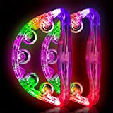 Light Up Tambourine Musical Flashing Tambourine Handheld Percussion Instrument for Kids and Adults Party Toys 2 Pack … (Four colors are randomly sent)