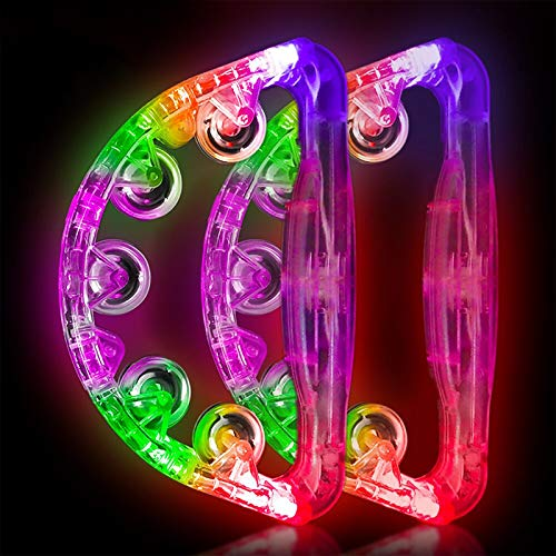 Light Up Tambourine Musical Flashing Tambourine Handheld Percussion Instrument for Kids and Adults Party Toys 2 Pack (Four colors are randomly sent)