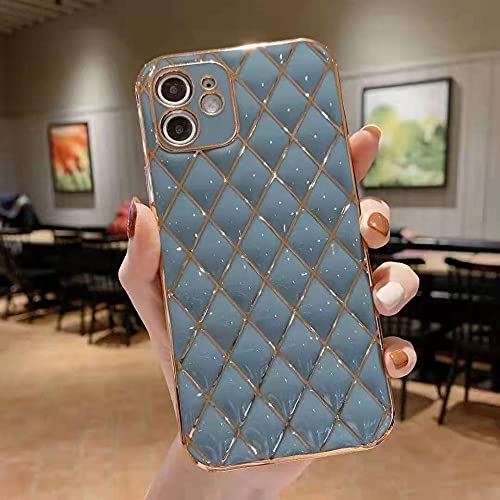 Estuche para teléfono con rombo electrochapado para iPhone 12Pro MAX Mini XS MAX XR7 8 Plus Funda Protectora de Color sólido anticaída, Ceniza de Leche, para iPhone 12Pro