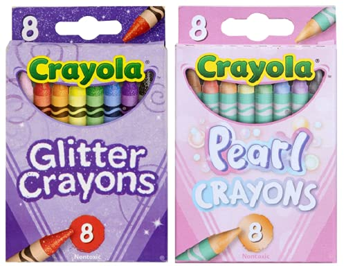 Glitter and Pearl Crayons, 8 count each