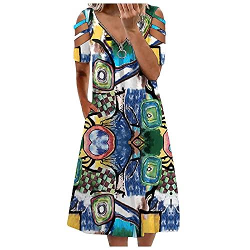 PcLeam Damen Kleid Kurzarm Schulterfrei BöHmen Camisole Mit Rüschen Kleider Übergröße Sommer V-Neck Kleider Party Dress Cocktail Dress, Beach Dress(Grün,XXL)