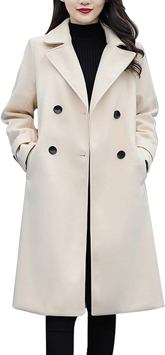 Haellun Womens Outdoor Pea Coat Notched Lapel Double Breasted Winter Trench Coat
