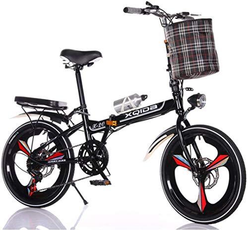 JXH Frei Installation Von 20-Zoll-Variable Speed Folding Fahrrad Erwachsene Kinder-Fahrrad-Straßen-Fahrrad, Seatbar Lenker Höhenverstellbar Und Komplett Geschlossenen Kettenschutz,Schwarz