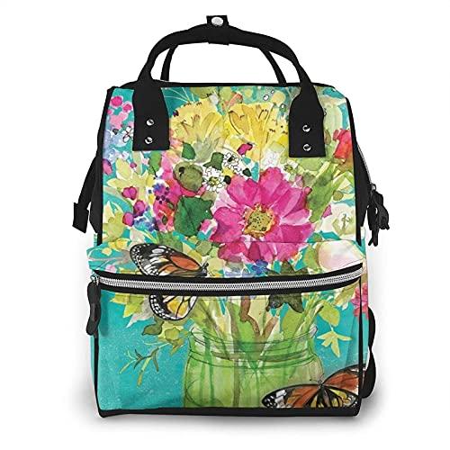 Spring Mason Jar Floral Welcome Butterfly Pañal Bag Multifunción Bolsas de Pañales para Cuidado del Bebé Impermeable Amplia Mochila de Viaje Abierta para Organización