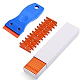 Ehdis Adhesive Remover 1.5' Plastic Razor Scraper with 100PCS Double Edged Plastic Razor Blades for Scraping Labels,Stickers and Decals from Glass, Windshields,Doors