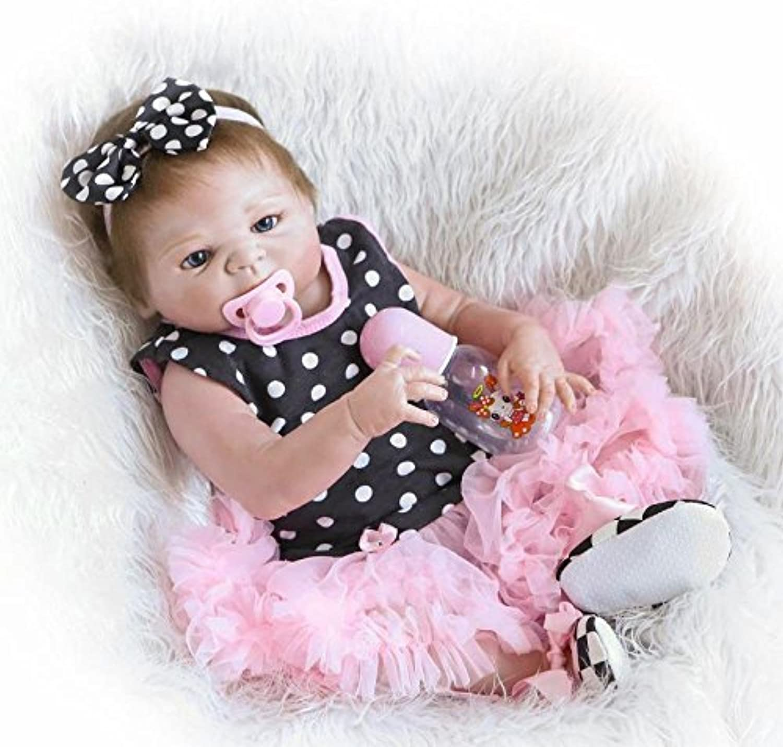 ZBYY Silikon Mdchen Junge Puppe Magnetismus Spielzeug Reborn Babys Lebensecht 22Zoll 57cm