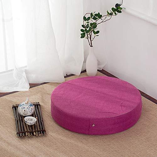 RAQ zitkussen van stof, wasbaar, rond, linnen, balkon, ramen, tatami, meditatie, lotus, 40 x 40 x 6 cm, zoals afgebeeld