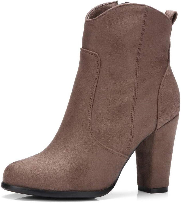 AN Womens Chunky Heels Zipper Imitated Suede Boots DKU02345