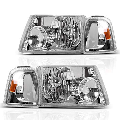 DWVO Headlight Assembly Compatible with 2001-2011 Ford Ranger Headlight Assembly+Corner light Chrome Housing Clear Lens