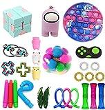 Komoo Among US Pop Fidget Toys Set Push Pop Bubble Fidget Sensory Toy Simple Dimple Figetget Toys Kill Time (2#)
