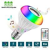 2 EN 1 Ampoule Bluetooth LED Couleurs Rechargeable E27 Ampoules de Couleurs Enceinte Musique Télécommande,Ampoule Ambiante,1.8M...