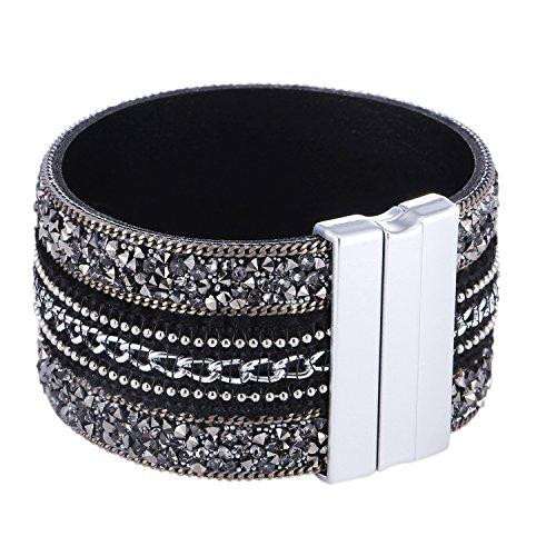 Morella Damen Glitzerarmband breit verziert mit Zirkoniasteinen und Magnetverschluss schwarz Silber