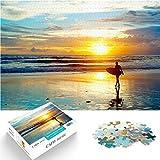 Ensamblar rompecabezas desafío de inteligencia cerebral Surfear bajo la hermosa puesta de sol Mini rompecabezas de papel de 1000 piezas