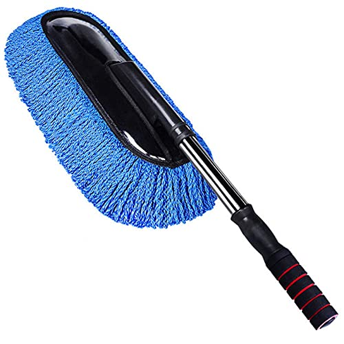 COLiJOL Car Dust Duster Universal Car Cleaning Brush Auto Window Duster Stainless Steel Long Handle Dust Washable Car Washer,Blue,One Size