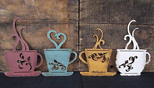 Collection Metal Coffee Cup Wall Kitchen Restaurant Coffee Shop Decor Set of 4