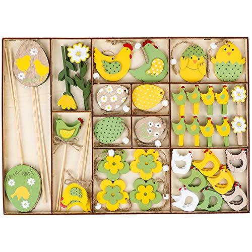 Valery Madelyn Set di 30 Decorazione di Pasqua in Legno Ciondolo Pasquale Uova di Pasqua Coniglietto di Pasqua Decorazione di Primaverile per Pasqua Casa Giallo/Verde