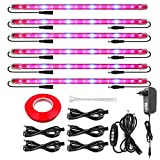 Led Grow Light Strips for Indoor Plants, Full Spectrum Auto On & Off T5 Grow Lamp with Timer/Extension Cables Plant Lights Bar 4 Dimmable Levels for Indoor Plants Tent Seedling Hydroponics -6Pack