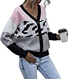Latoshachase Womens Le Sweater Short Knitted Spell Color Stitching Cardigan