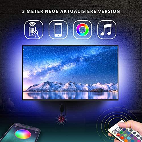 Mexllex bande LED pour TV 43 pouces à 55 pouces avec application de télécommande TV LED Bande LED RGB à changement de couleur rétroéclairage USB alimenté(3M +1M Cordons d'angle)
