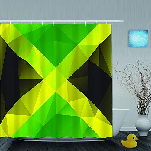 SUHOM Cortina de Ducha,Diseño de polígono Triangular jamaicano Resumen Bandera geométrica símbolo Nacional,Tejido de poliéster - con Gancho,180x210