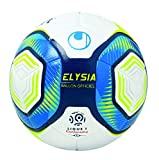 Uhlsport Elysia Officiel-Ballons-Taille 5 Adulte Unisexe, Blanc/Metallic Bleu/Jaune, 5