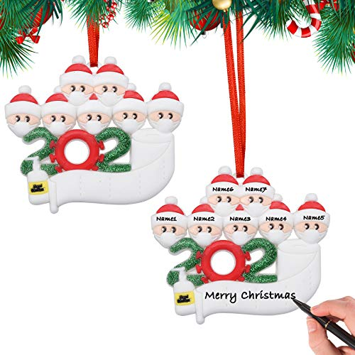 [2 Pack] Personalized Christmas Ornaments 2020, Zuukoo Survivor Family Quarantine Xmas Tree Decoration Pendant Set, DIY Name Blessing Creative Gift for Home Indoor Party (Family of 7)
