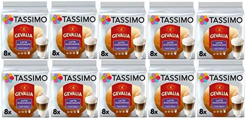 TASSIMO Gevalia Latte Macchiato Capsules Moins Sucrées | Paquet de 10, 80 boissons
