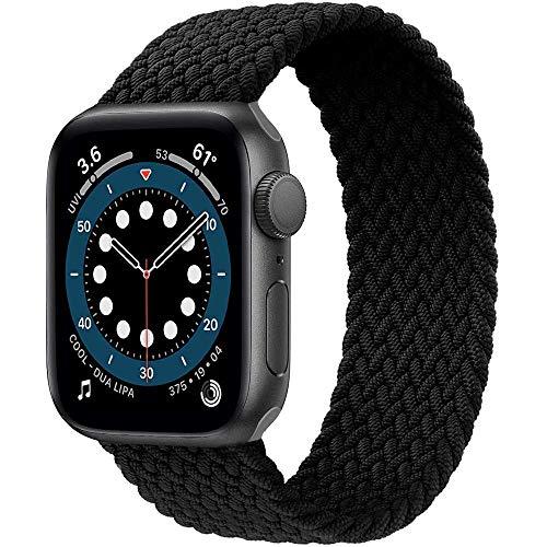 Preisvergleich Produktbild Daihook Dehnbare Verflochtenen Ersatzband Kompatibel mit Apple Watch Armband 42mm 44mm,  Geflochtenes Solo Loop kompatibel mit Apple Watch Serie 5 / 4 / 3 / 2 / 1 / 6 / SE-Darkschwarz Nr.8(171mm-178mm Handgelenk)