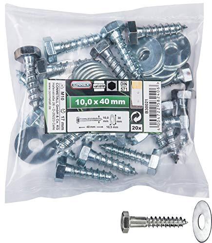 Connex Sechskant-Holzschrauben 10,0 x 40 mm - 20 Stück - Außensechskant-Antrieb - Verzinkt - Für sämtliche Holzverbindungen - Inkl. Unterlegscheiben / Schlüsselschrauben / Schrauben-Set / B30021