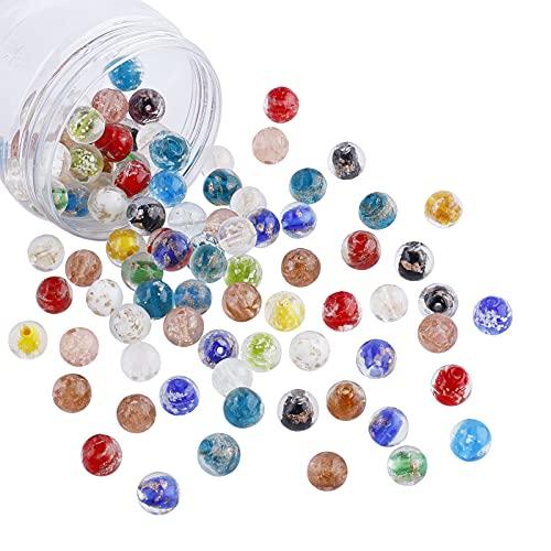 nbeads Environ 100 Pcs 12mm Perles Lumineuses au Lampwork, Perles de Breloque en Verre de Couleurs Mélangées Faites à la Main Perles en Vrac pour Bricolage Accessoires Artisanaux