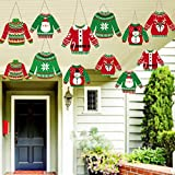 Ugly Sweater Decorations Hanging Banner 12 Pieces Ugly Christmas Party Decorations Holiday Party Indoor Hanging Decor