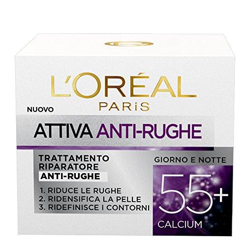 L'Oréal Paris Crema Viso Anti-rughe Attiva 55+, Trattamento Riparatore, Ridansifica e Ridefinisce i Contorni, 50 ml, Confezione da 1