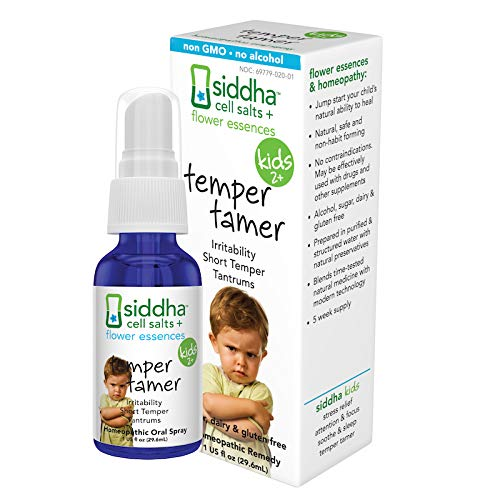 Siddha Remedies Temper Tamer Spray for Children | 100% Natural Homeopathic Remedy with Traditional Homeopathic Ingredients, Cell Salts and Flower Essences| No Alcohol | No Sugar