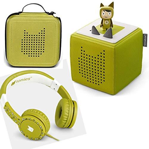 Toniebox Starterset Grün + Ordnungsbox für viele Tonies + Kinderkopfhörer Tonie-Lauscher
