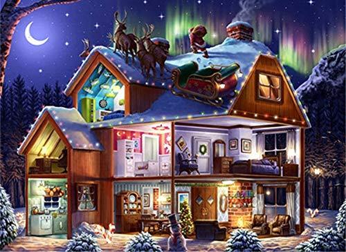 Cuadro de dibujos animados con bordado de diamantes de diamantes de imitación, kit de pintura de diamantes, cuadro completo de diamantes de Navidad, A3 60x80cm