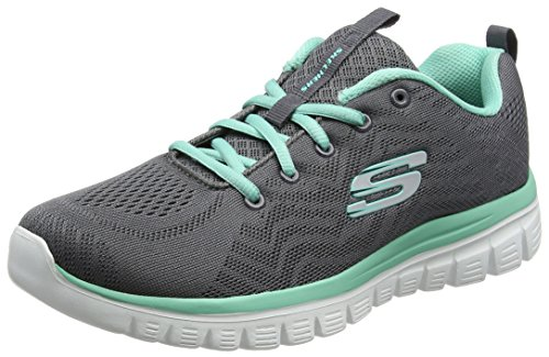 Skechers Women 12615 Low-Top Trainers, Grey (Charcoal Mesh/Green Trim Ccgr), 4 UK (37 EU)