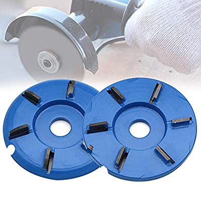 Six Teeth Power Wood Carving Disc Tool Milling Cutter, Woodworking Turbo Tea Tray Digging Wood Carving Disc Tool Milling Cutter for 16mm Aperture Angle Grinder Blue